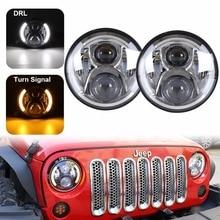7″ Round 60W CREES LED Headlight H4 Hi / Lo Beam For Jeep Wrangler JK Headlamp With Halo Angel Eye & Turn Signal Lights & DRL