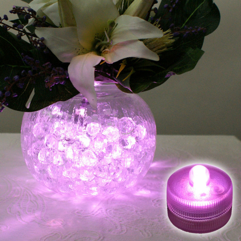 24pcs Lot Super Bright Submersible Led Battery Operated Tea Light Purple Wedding Fl Arrangement Ice Bucket Party In Holiday Lighting From Lights