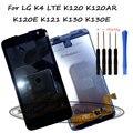 Para lg k4 lte k120 k120ar k120e k121 k130 k130e vs425 K VS425PP Screen Display Lcd + Painel de Toque Digitador de Vidro assembleia + Ferramentas