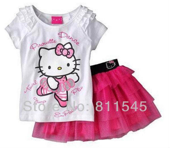 Retail 2016 Summer Noticias Artículos de Hello Kitty T-Shirt de Color Rosa Falda De Encaje Niña Set Trajes de los Niños Ropa de Las Muchachas, el Envío Gratuito!