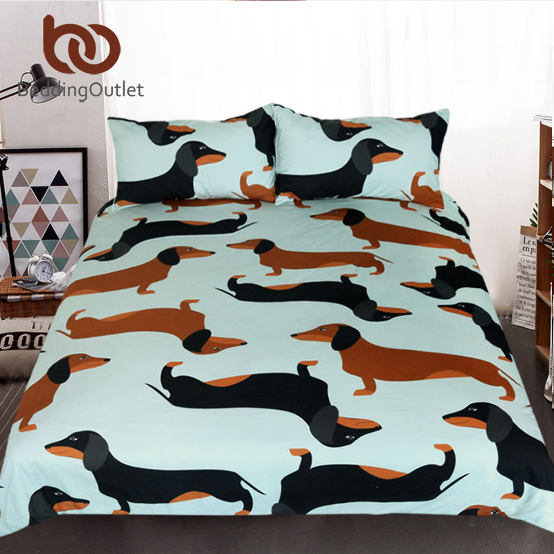 BeddingOutlet Cartoon Dog Kids Bedding Set Cute Dachshund Sausage Duvet Cover Set Pet Printed Brown And Black Bedclothes 3pcs