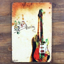 Free shipping metal painting Guitar tin sign, Musical Instruments Guitar metal sign Music store home wall art decoration,30x20cm