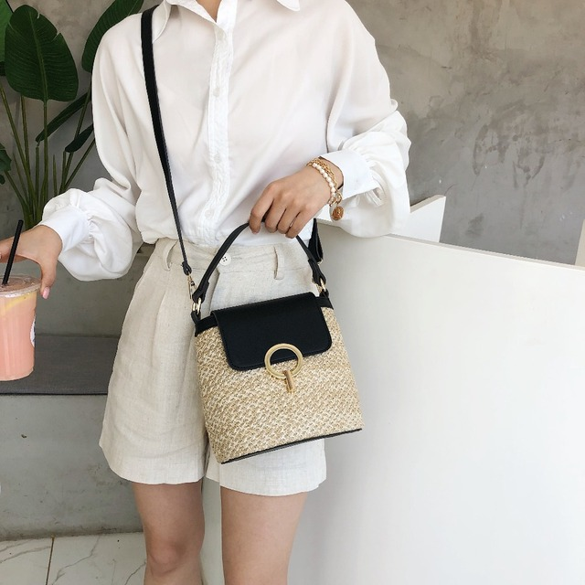 Small Straw Bucket Bags For Women 2019 Summer Crossbody Bags Lady Travel Purses and Handbags Female Shoulder Messenger Bag 3