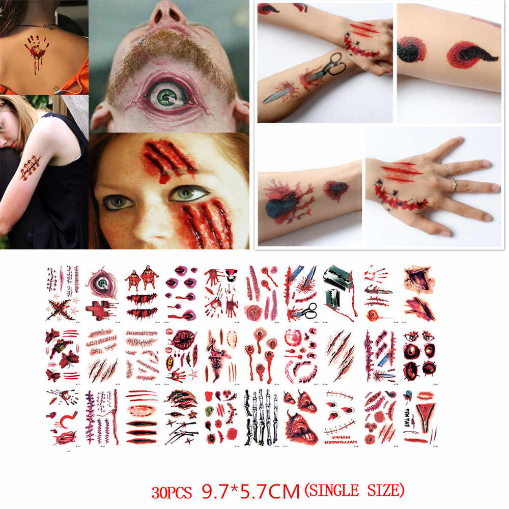 30 PCS Waterproof Waterproof Temporary Tattoo Sticker Halloween Terror Wound Realistic Blood Injury Scar Fake Tattoo Sticker S18