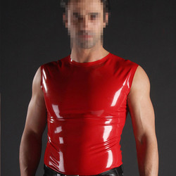 Red Men's Latex T-shirt Top Round  Sleeveless Rubber Top Suit Hand-made