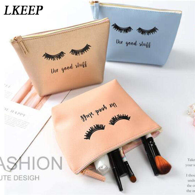 Cartoon Lashes Print Women Cosmetic Bags Waterproof Toiletry Bag Travel Organizer Necessary Wash Multifunction Zipper Makeup Bag