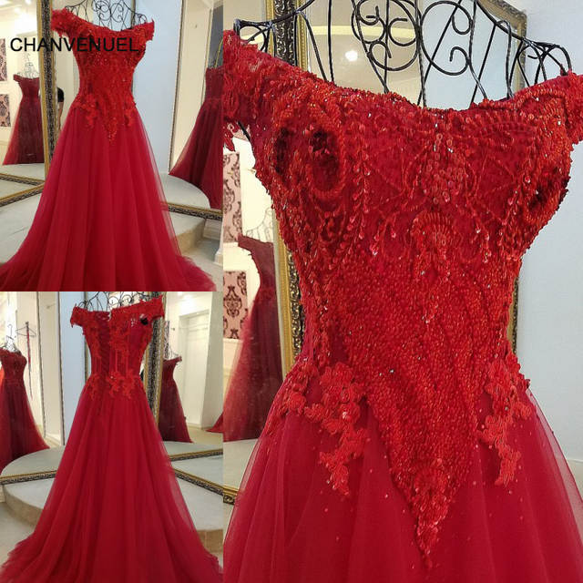 a100cfb83af LS17220 evening dresses with crystals off the shoulder sweetheart corset  back ceach red tulle short sleeve wedding guest dresses-in Evening Dresses  from ...