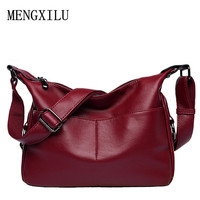 Women S Pu Leather Handbag Female Casual Totes Ladies Shoulder Bag 2017 New Design Zipper Hobos