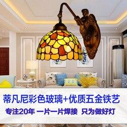 Amerykański ogród Tiffany osobowości szkło podłużna lampa restauracja sypialnia lampki nocne przejściach i korytarzach ściany lampa 20 CM w Wewnętrzne kinkiety LED od Lampy i oświetlenie na