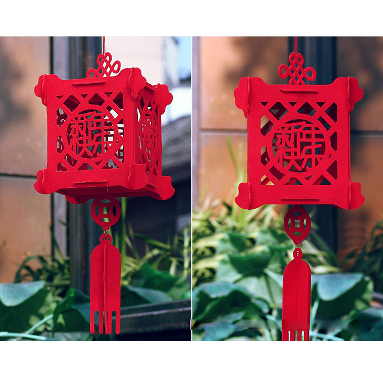 Behogar Fashion 3D Hollow out Non woven Red Lantern ...