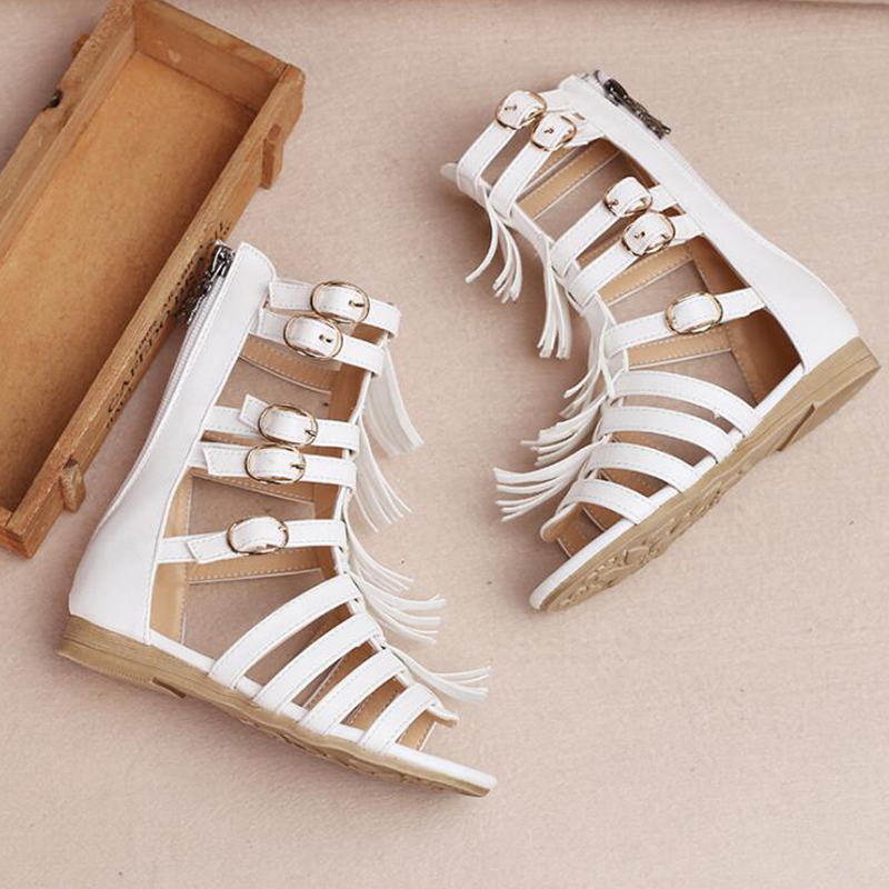 2018 summer childrens shoes Roman girl hollow weave sandals fashion open-toed high-soled cool boots sandals
