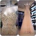 Sparkly prom vestidos longos 2017 elegante da sereia querida mangas cristais frisado lantejoulas bling champagne prom dress