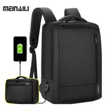 Men Business Backpack Laptop Backpacks15.6 Inch Waterproof Male Bag Notebook Multifunction Travel Bagpack USB Charging Backbag