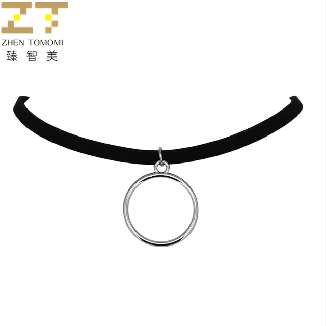 2018 New Arrivals Fashion Silver plated Bijoux Collares Collier Round Pendants Black Velvet Leather Chokers Necklaces For Women