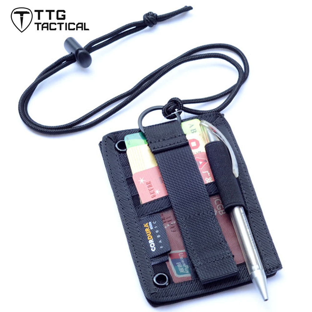 Military ID Cards Pockets Vertical Military Military Pass Holder 3 Slots+1 Pen Pocket With Neck Lanyard Necklace Badge Holder aluminium alloy office worker id badge holder with detachable stripe lanyard strap