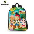 Новинка 3D мультфильм джейк пиратский учащихся начальной школы bookbag дети рюкзак для девочки мальчик школьную сумку унисекс 12 дюймов