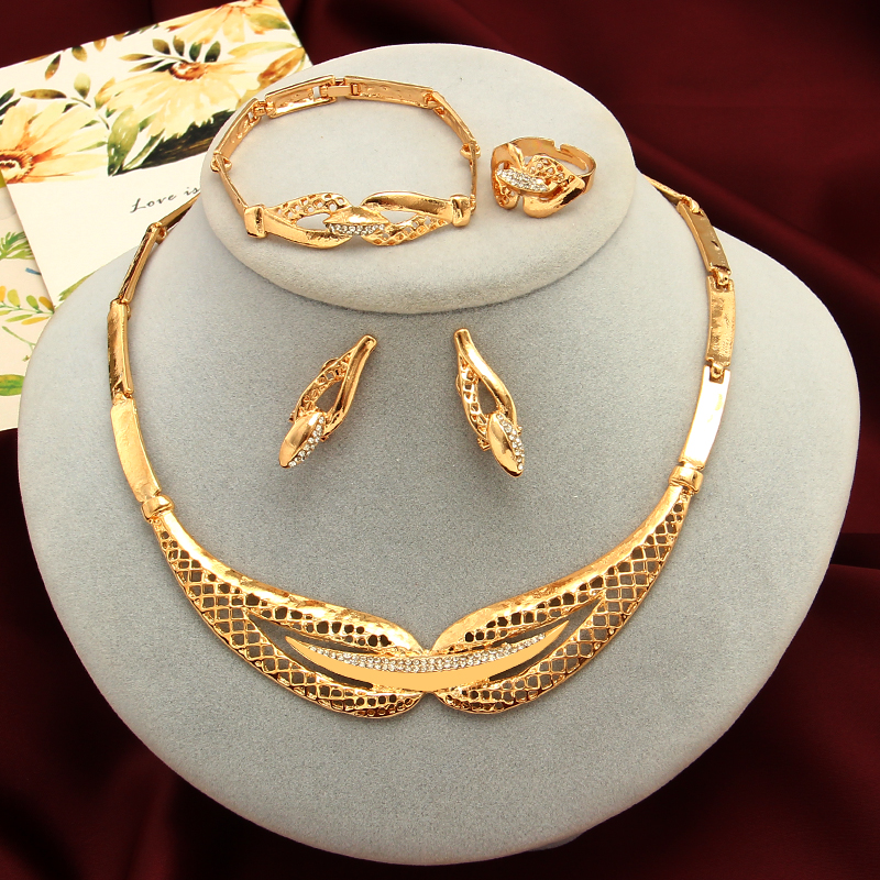 Crystal Necklace Earrings Bracelet Jewelry-Sets Ring-Nigerian Dubai Wedding Fashion Women