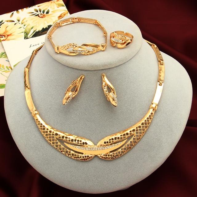 אופנה כלה תכשיטי סטים לנשים דובאי זהב גדול שרשרת עגילי צמיד טבעת חתונה אירוסין תכשיטי סט