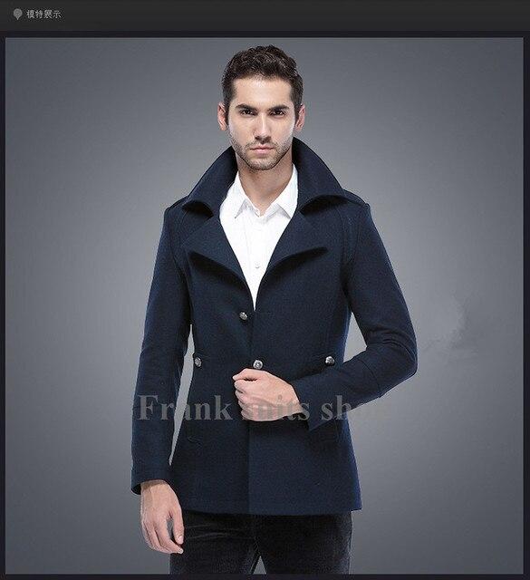 Custom made 2017 Fall-Casual men jacket Navy spring jacket men Spring new men's business casual wool woolen coat