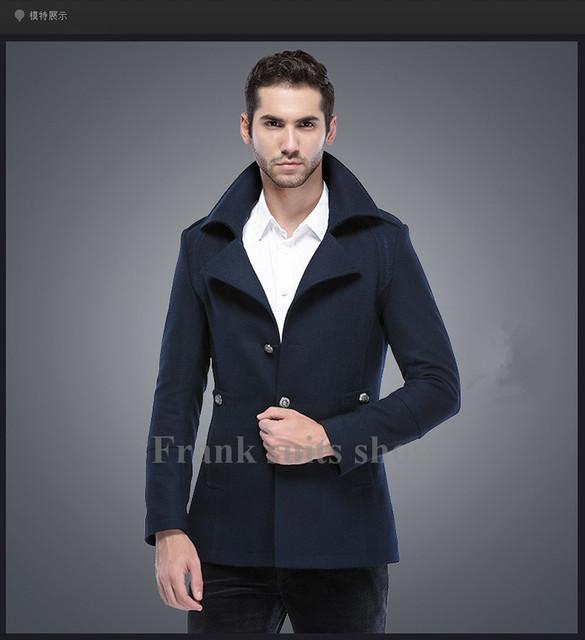 Custom made 2017 Otoño-chaqueta de los hombres Casual Navy primavera hombres de la chaqueta de Primavera de los nuevos hombres de negocios informal de lana de lana escudo