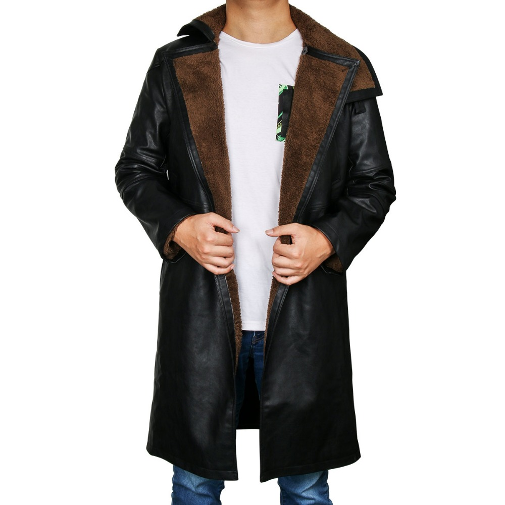 Blade Runner 2049 Offizier K Graben Cosplay Kostüm 2017 Ryan Gosling Jacke Outwear Lange PU Leder Mantel Halloween Uniform Neue