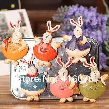 ¡Envío Gratis! Imanes de resina de conejo de baile estilo Rural nevera pegatinas soporte 6 diseños decoración del hogar regalo A1004