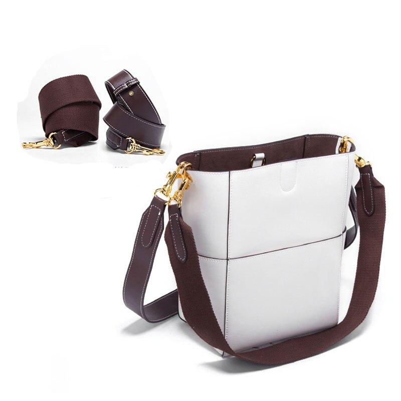 Nieuwe Vrouwen emmer tas Echt Leer Koeienhuid Draad designer Composite messenger Bag Crossbody Winkelen handtas met 2 bandjes - 2