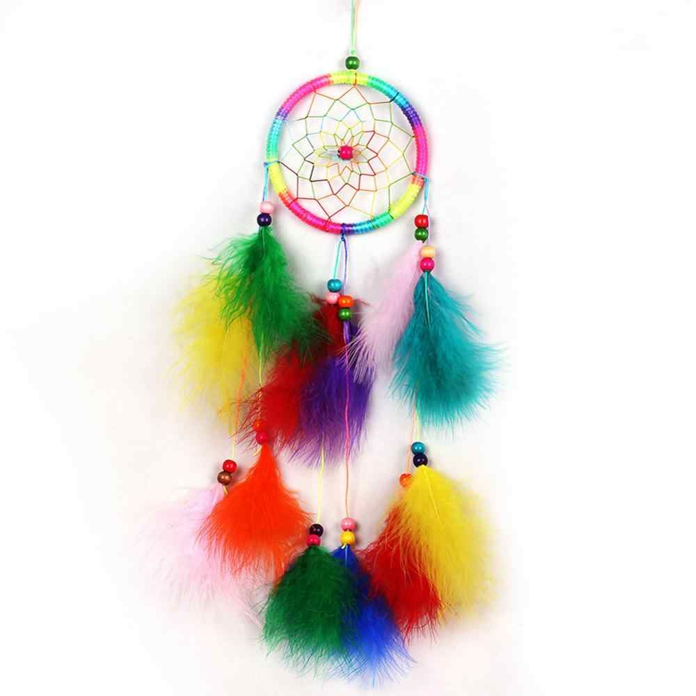 Fashion India Style Handmade Dream Catcher Net With feathers Wind Chimes Hanging Carft Gift For Home Decoration