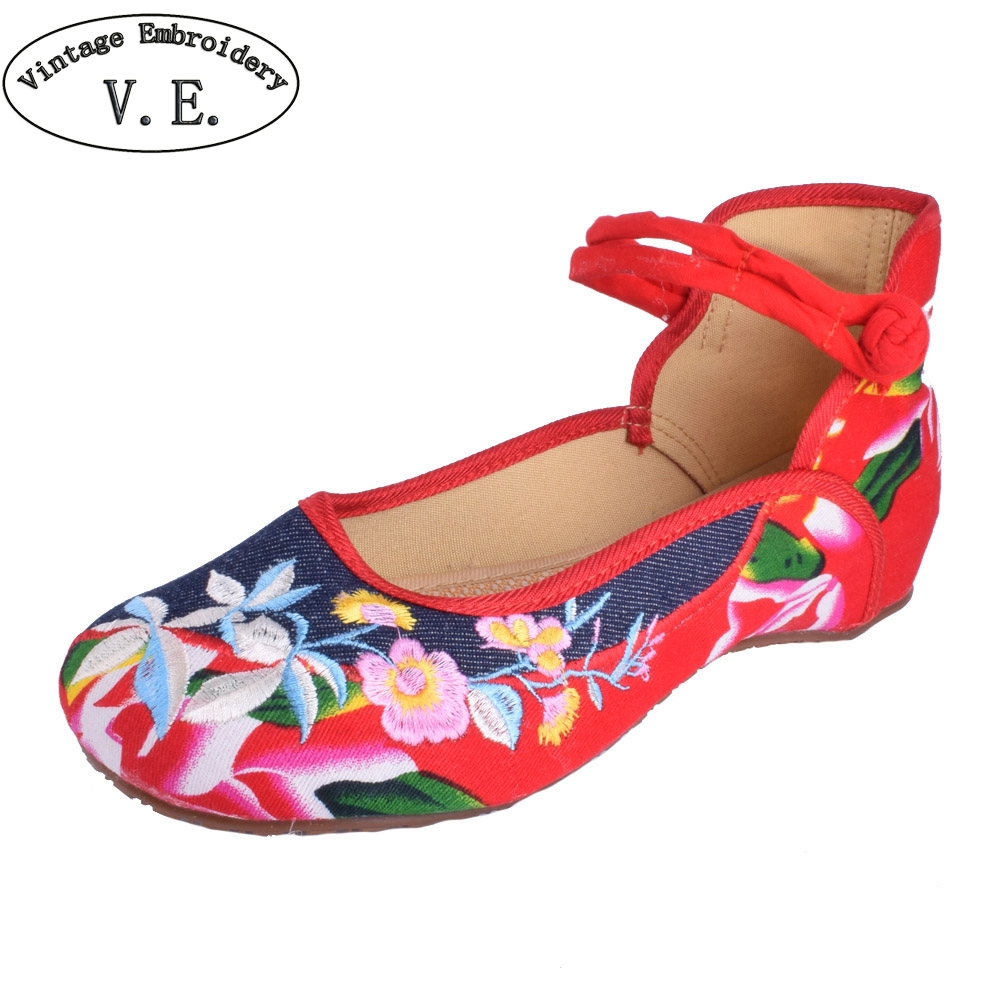 Vintage Women Flats Shoes Denim Shoes Women Mary Jane Flats Breathable Comfortable Round Toe Student Flat Woman Plus Size 2017 new women flower flats slip on cotton fabric casual shoes comfortable round toe student flat shoes woman plus size 2812w page 2