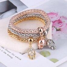 Europe And America New Fashion Punk Style Crystal Skull Bracelet & Bangle 3PCS/Set Women Exquisite Bracelets Sets Jewelry Gifts