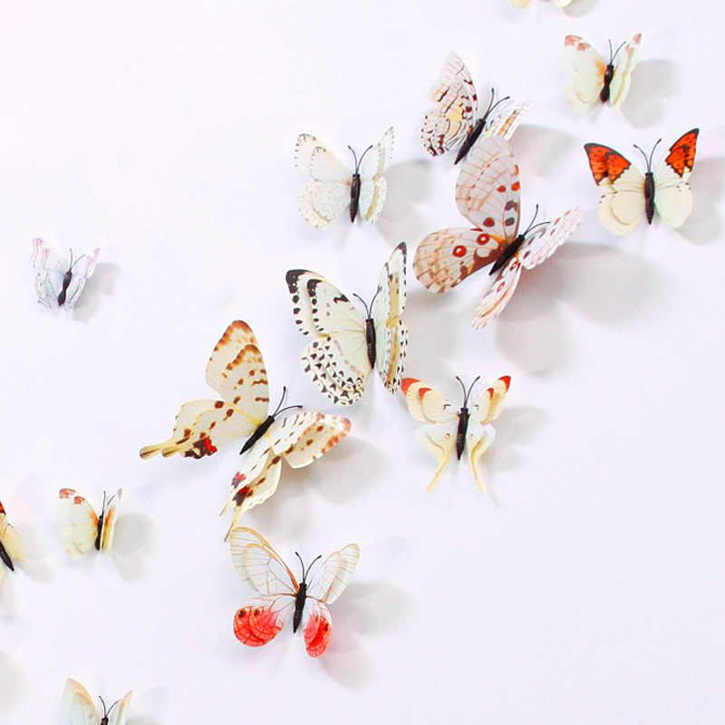 12 adet 3D Büyük Çift Katmanlı Mıknatıs Kelebek Çocuk Odaları Ev Dekor Vinil Duvar Buzdolabı Noel dekorasyon çıkartmaları