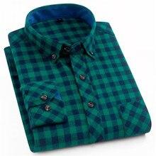 Męskie koszule flanelowe w kratę bawełna 2019 wiosna jesień Casual koszula z długim rękawem sukienka Soft Comfort slim fit koszula męska