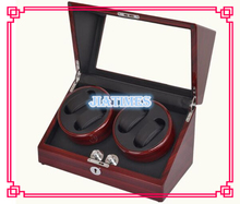 New 4+0 Automatic Wooden Stripped Wine Red + Black Watch Winder Storage Display Case Box Rotate Leather