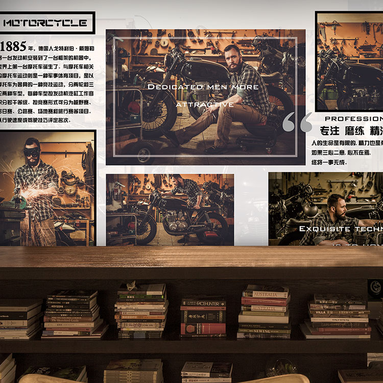 Free Shipping 3D retro motorcycle mural living room sofa TV backdrop coffee house bedroom clothing store wallpaper mural  free shipping 3d personality wallpaper sofa tv coffee house bar backdrop living room bedroom bathrom wallpaper mural