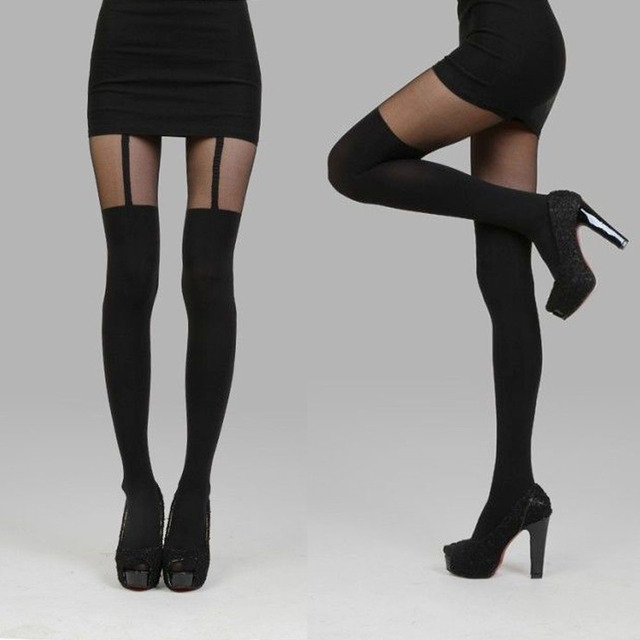 a0bf8d1af 1PCS Hot Fashion Sexy Lady Women Black Thights Thigh-Highs Stockings Garter  Belt Fake Suspender Pantyhose