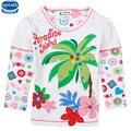 2 design de roupas da menina 2016 nova crianças dos miúdos de manga longa floral o-neck t-shirt da menina roupa dos miúdos da roupa do desgaste