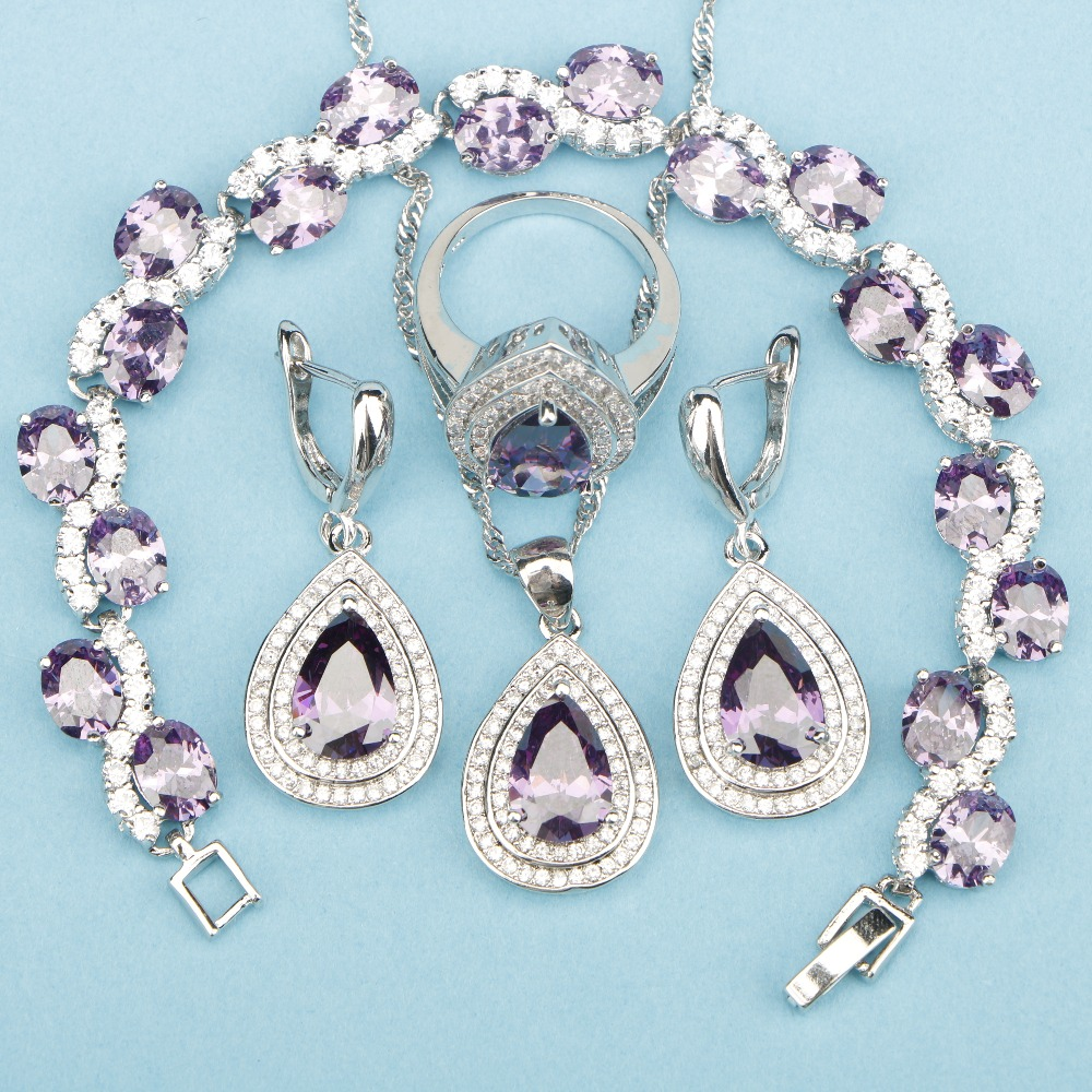 Magic Noble Jewelry Sets 925 Sterling Silver Top AAA+ Purple Stones For Women Necklace Earrings Ring Bracelets Pendant