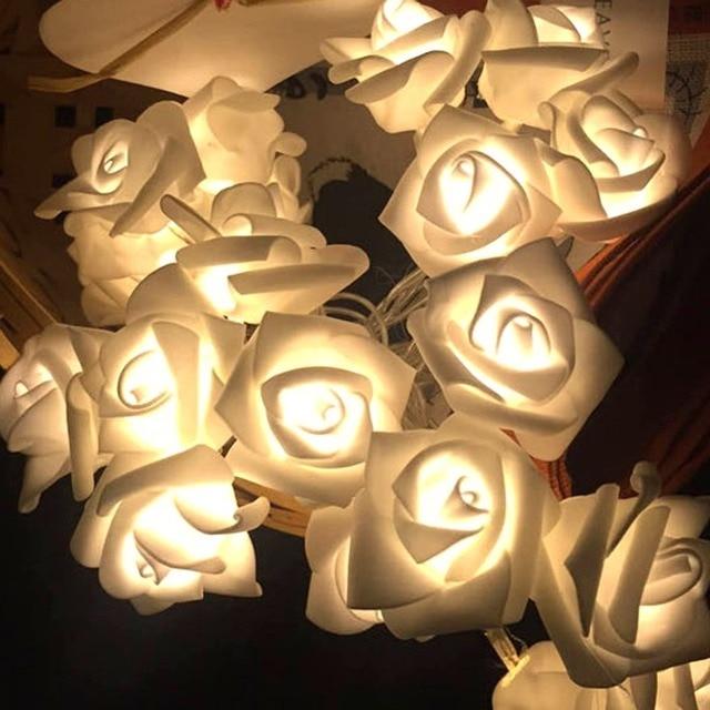 Lumieres De Noel 1 2 M 10 Led Rose Fleur Guirlande Lumineuse Lampe