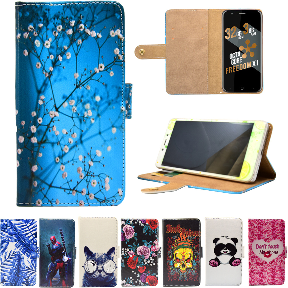 PU Leather Phone Case Cartoon Cases Flip Wallet Stand Cover for Just5 Freedom X1