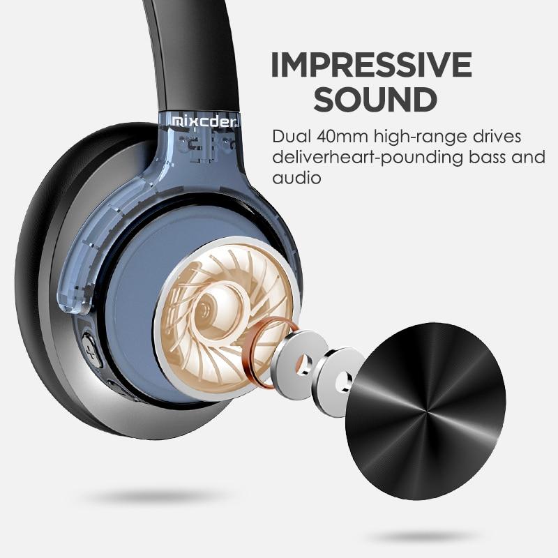 Mixcder E9 casque anti-bruit actif sans fil Bluetooth 30 heures de jeu casque Bluetooth avec Super HiFi basses profondes - 3