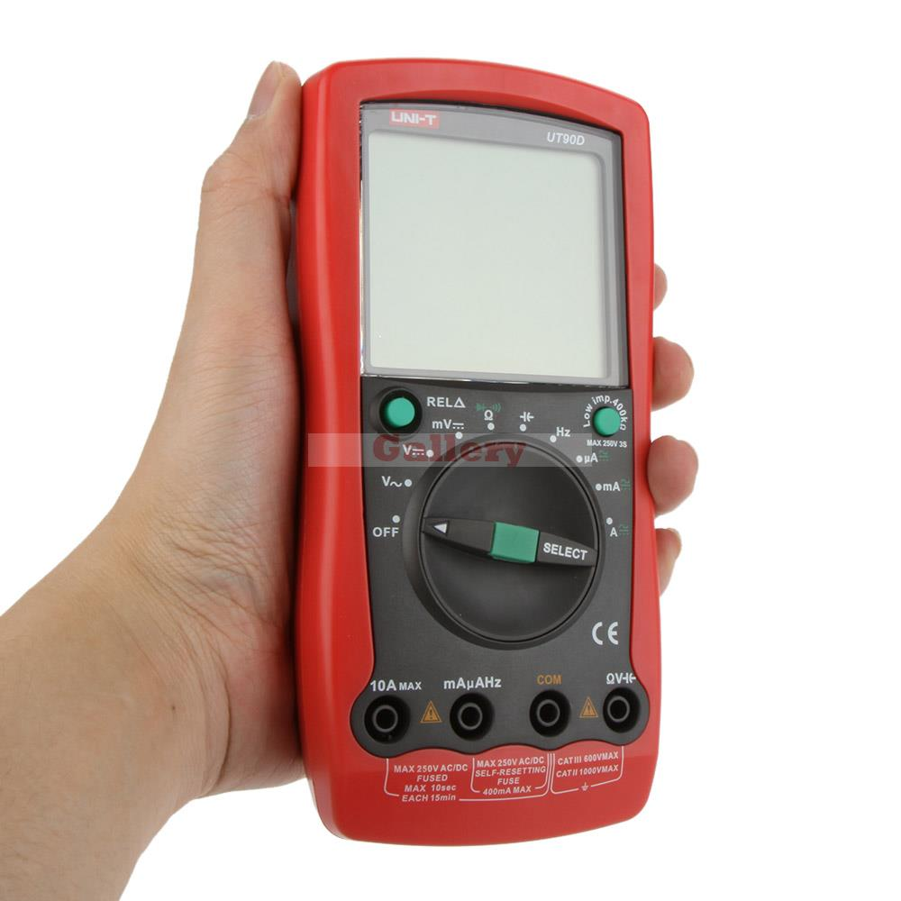 Uni T Ut90d Auto Range Digital Multimeter Dmm Amp Volt Ohmmeter W Frequency & Capacitance Test Tester Meter Professional uni t ut70b lcd digital multimeter auto range frequency conductance logic test transistor temperature analog display