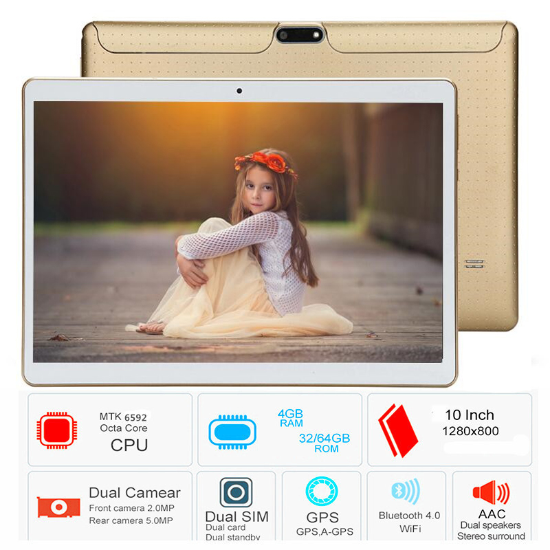 Free shipping 10.1 Inch Tablet pc Android 6.0 Octa Core 4GB RAM 64GB ROM Duall SIM WiFi FM IPS Phone Call 3G GPS Tablets+gifts free shipping 2017 s107 10 1 inch android 6 0 call phone octa core tablet pc dual sim 4g lte 4gb 64gb gps ips screen bluetooth