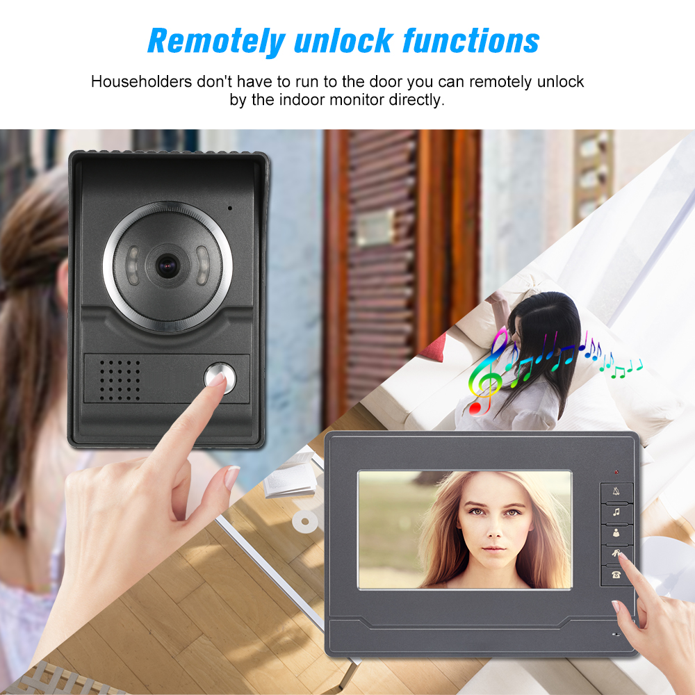 7inch TFT LCD Color Video Door Phone with 1 Indoor Monitor Gray 1 Outdoor Camera Support