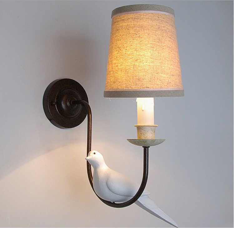 2015 кантри Винтаж настенные светильники, с зажимным приспособлением светодиодный E14 лампа для чтения изголовье кованого железа Спальня настенный светильник Nordic Abajur