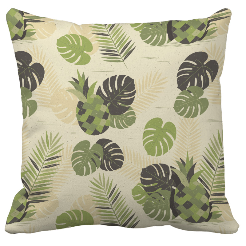 Tropical Plants Palm Leaf Green Leaves Monstera Cushion Covers Hibiscus Flower Cushion Cover Decorative Plush fabric Pillow Case in Cushion Cover from Home Garden