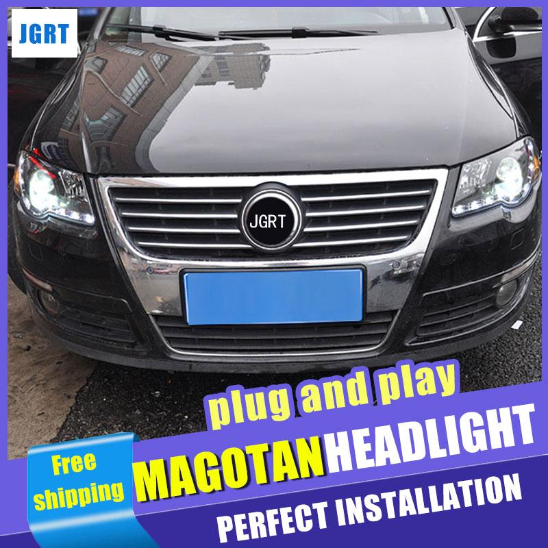 Car Styling  Headlights 2007-2011 for VW Passat DoubleU Angel Eye LED DRL Lens Double Beam H7 HID Xenon bi xenon lens