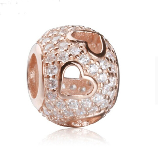 925 sterling silver rose or micro pave cz coeur perles fit original bracelet européen diy bijoux pour femmes