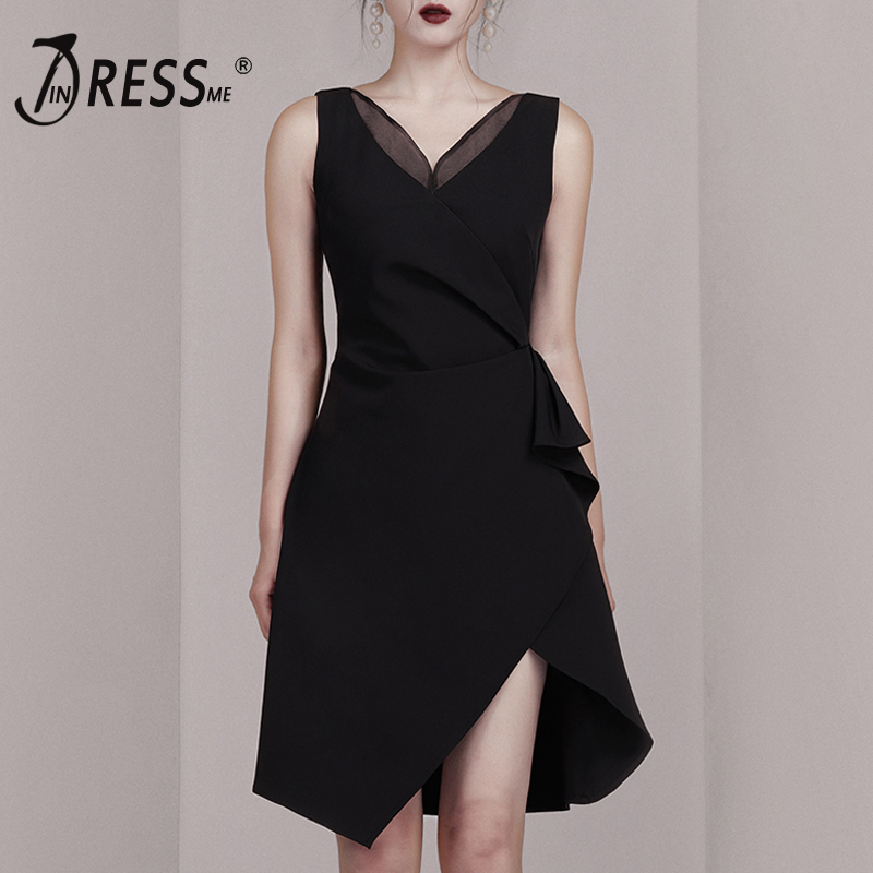 INDRESSME 2019 New Women Dress Sexy Deep V Neck Sleeveless Tassel Asymmetric Hem Mini Dress Lady