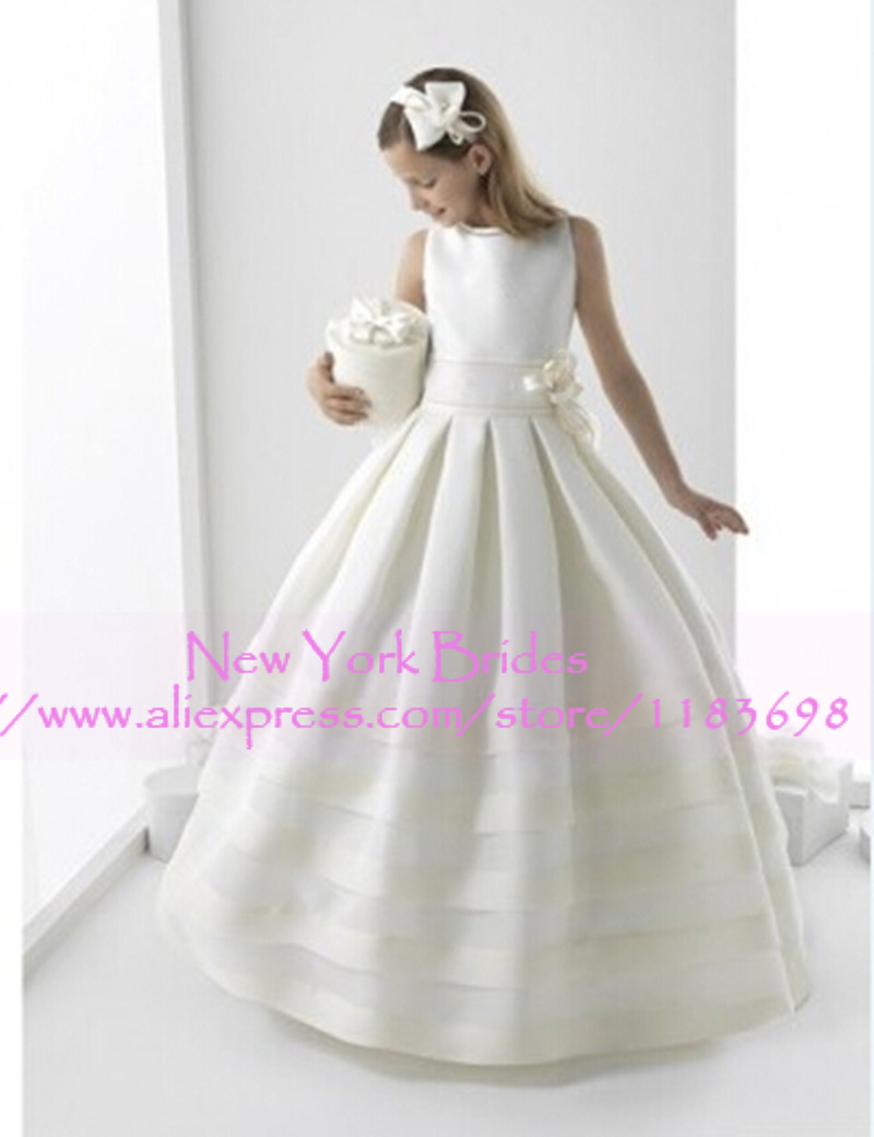 New fashion white flower girl dresses with jacket satin ball gowns new fashion white flower girl dresses with jacket satin ball gowns cute bow custom made custom made high neck floor length gowns mightylinksfo