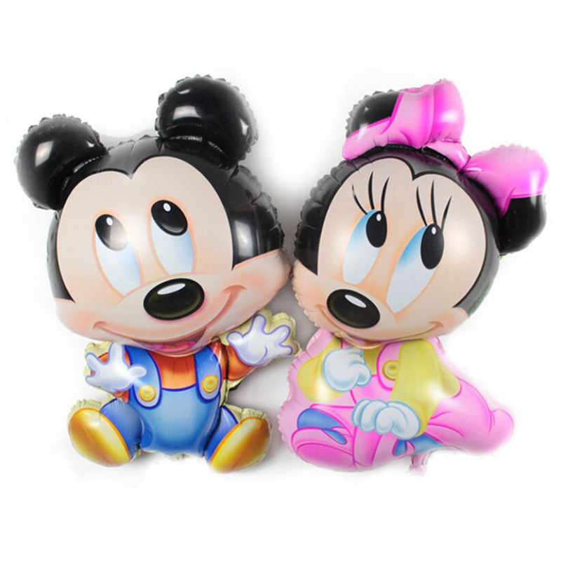 1pcs Cartoon balloons Cute Mickey Minnie Red Pink Yellow Birthday Party decorations Kids Baby shower Party baloon Toys